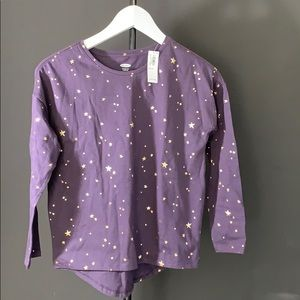 Purple gold star long sleeve tee